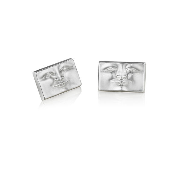 Large Silver Brickface Earrings