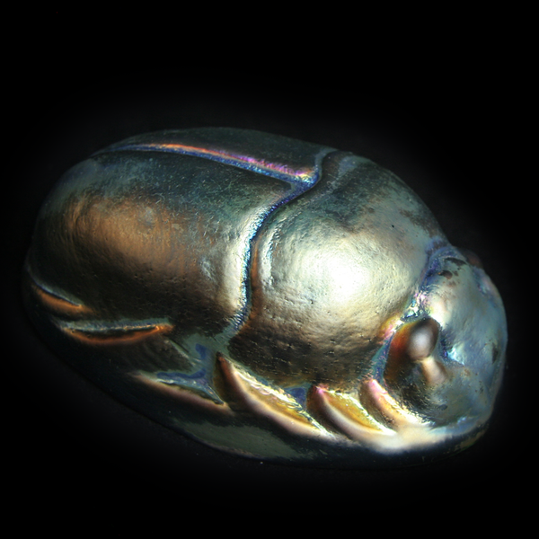 Lusterware Glass Scarab Paperweight