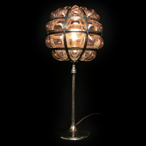 Copper Dandilion Pedestal Lamp with Clear Glass