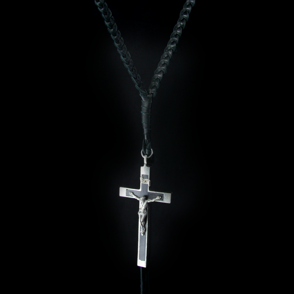 Antique Ebony Crucifix on braided leather designed by Shannon Koszyk
