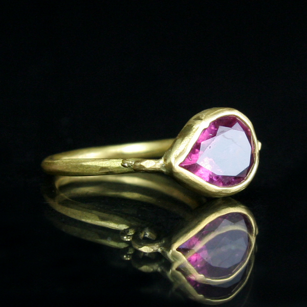 Margery Hirschey Pink Topaz Teardrop Ring