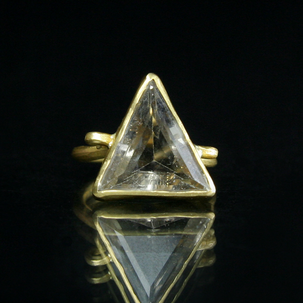 Margery Hirschey Triangular White Topaz & 22k Gold Ring