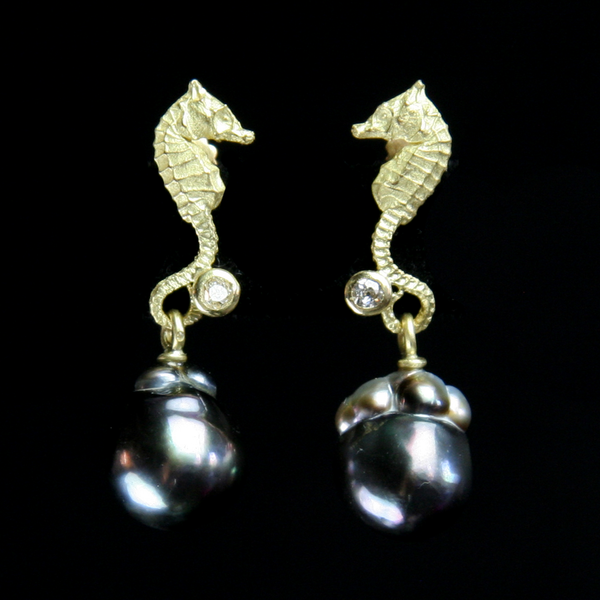 Pearl & Seahorse Earrings