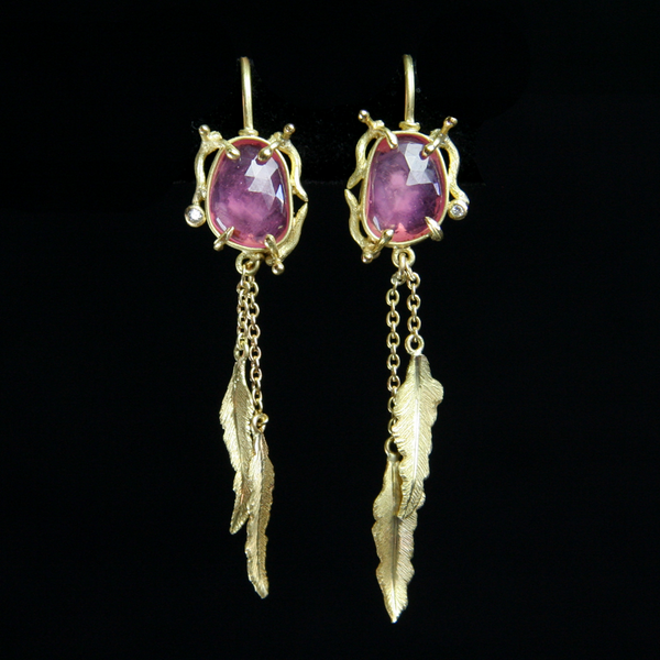 Feather Ruby Earrings