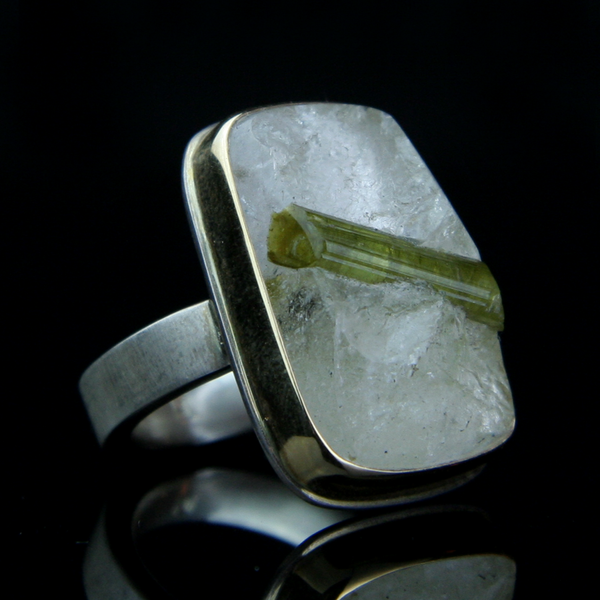 Green Tourmaline Specimen in Quartz ring hand made by Jamie Joseph in her Seattle studio producing unique statement pieces