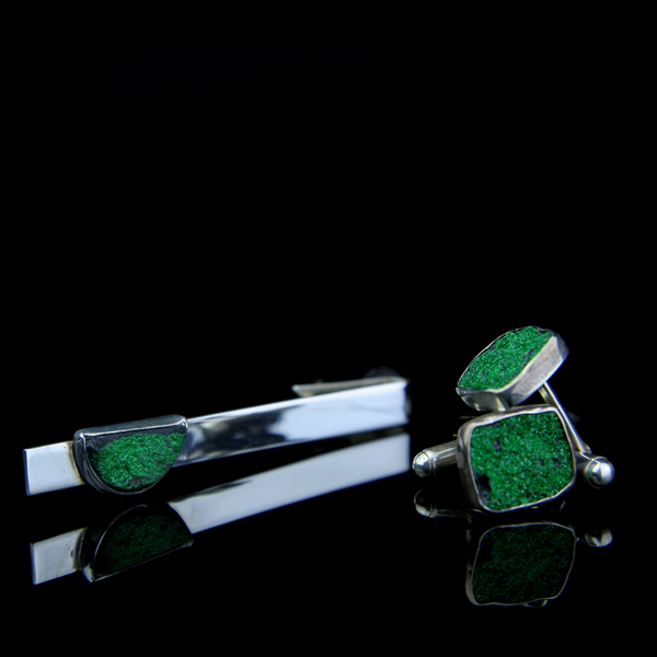 Rare Green Garnet Uvarovite Tie Clip and Cufflinks