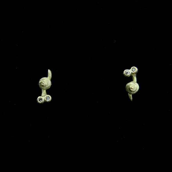 Snail and Diamond Stud Earrings