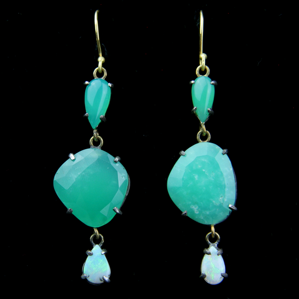 Chrysoprase and Opal Earrings