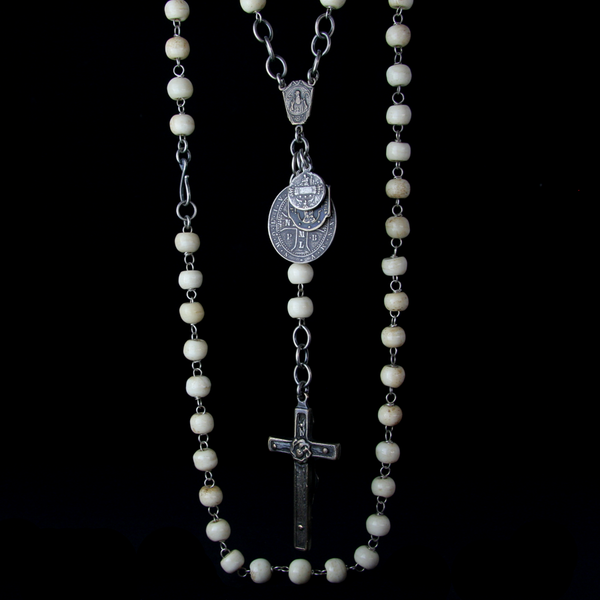 Bone Beaded Rosary Necklace