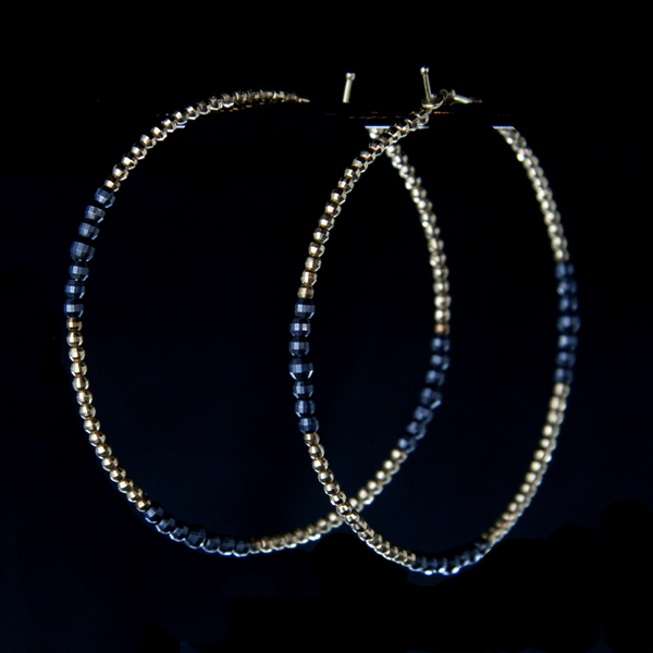 Beaded 18k Gold and Sterling Silver Hoops