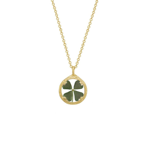 Good Luck Four Leaf Clover Necklace, pressed flower jewelry