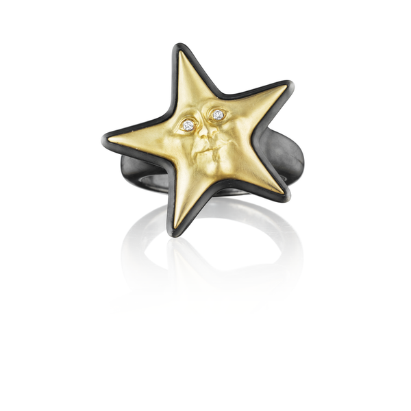 Anthony Lent Gold Starface Ring with Diamond Eyes