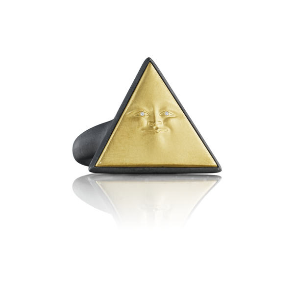 Fine jewelry designer Anthony Lent Gold Triangleface Ring with Diamond Eyes