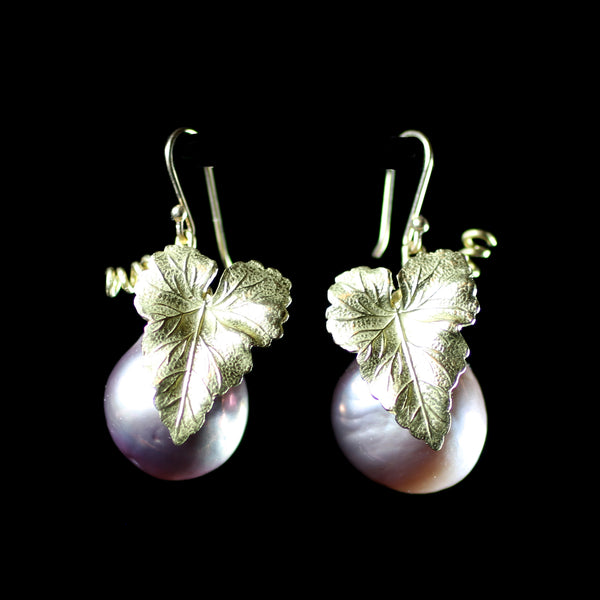 18k gold grape leaf earrings with pink baroque pearls hand made by fine jewelry designer Annette Ferdinandsen