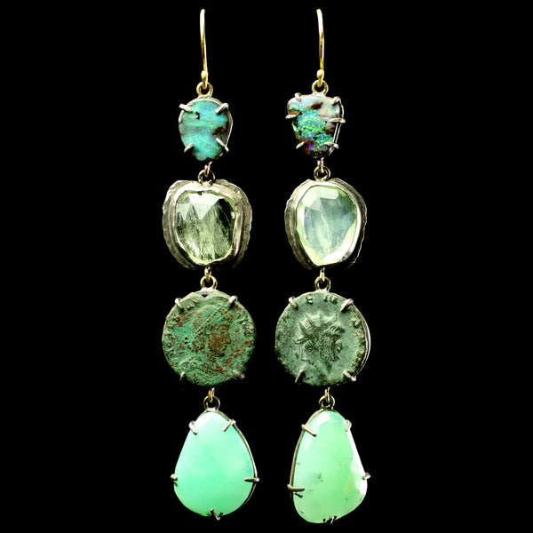 Byzantine Coin and Prehnite Earrings