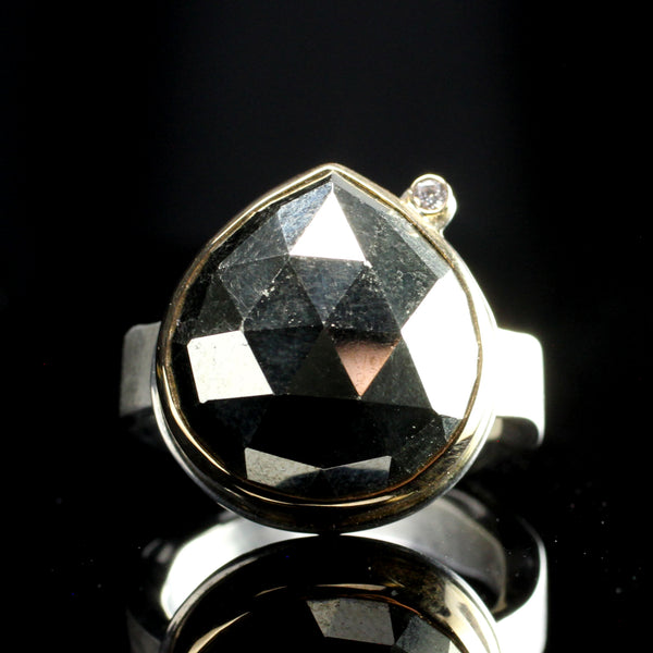 Pyrite Teardop Ring