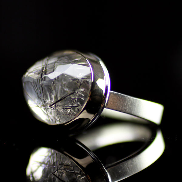 Tourmalinated quartz ring hand made by Jamie Joseph in her Seattle studio for jewelry lovers who like unique statement pieces