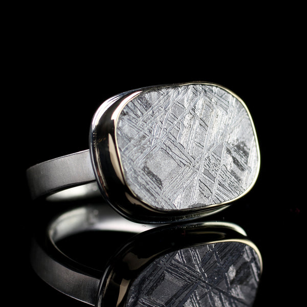 Scrimshaw meteorite ring perfect for a man or woman handmade by Jamie Joseph in her Seattle jewelry studio