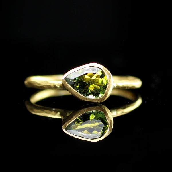One of a kind green sphene stone stacking ring hand made by Margery Hirschey fine jewelry designer