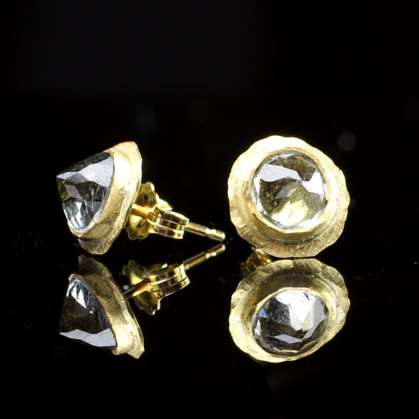 22k gold tourmaline post earrings hand made by jewelry designer Margery Hirschey