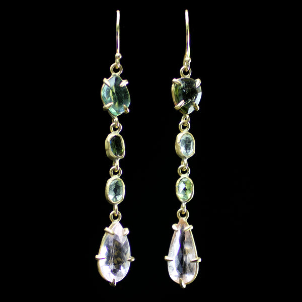22k gold morganite and green tourmaline earrings hand made by fine jewelry designer Margery Hirschey