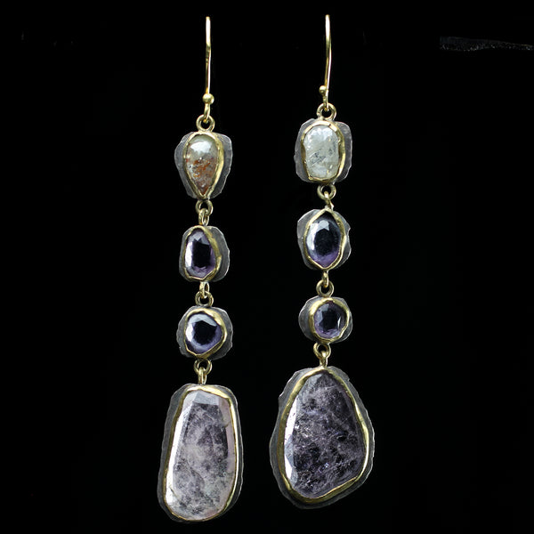 22k gold purple tourmaline earrings hand made by jewelry designer Margery Hirschey