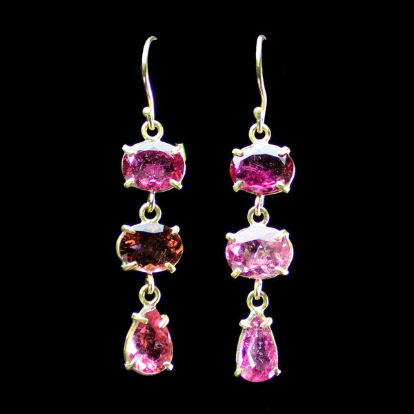 22k gold pink tourmaline earrings hand made by jewelry designer Margery Hirschey