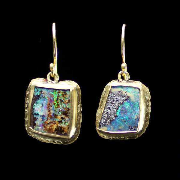 22k gold and boulder opal stone earrings hand made by fine jewelry designer Margery Hirschey