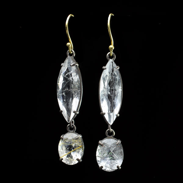 22k gold and rutilated quartz stone earrings hand made by fine jewelry designer Margery Hirschey