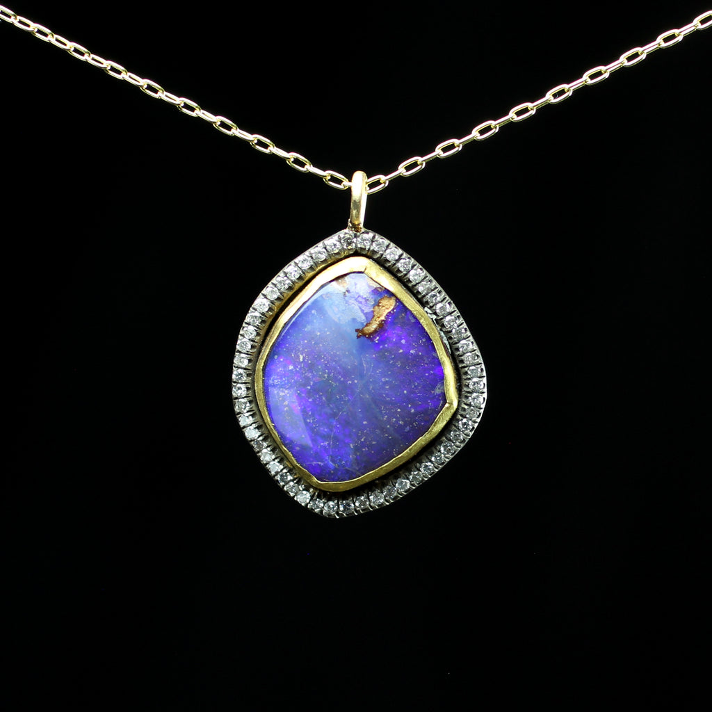 diamond necklace black platinum and pendant opal