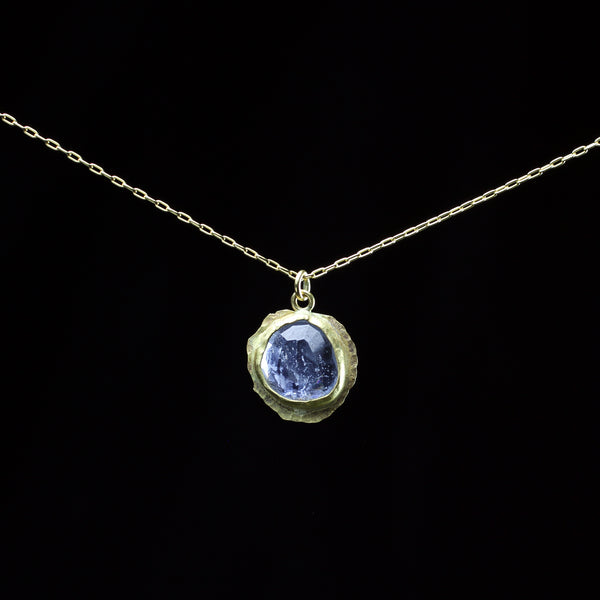 22k gold and blue tourmaline necklace hand made by fine jewelry designer Margery Hirschey who creates timless collectable pieces
