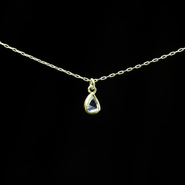 22k gold and white diamond necklace hand made by fine jewelry designer Margery Hirschey who creates timless collectable pieces