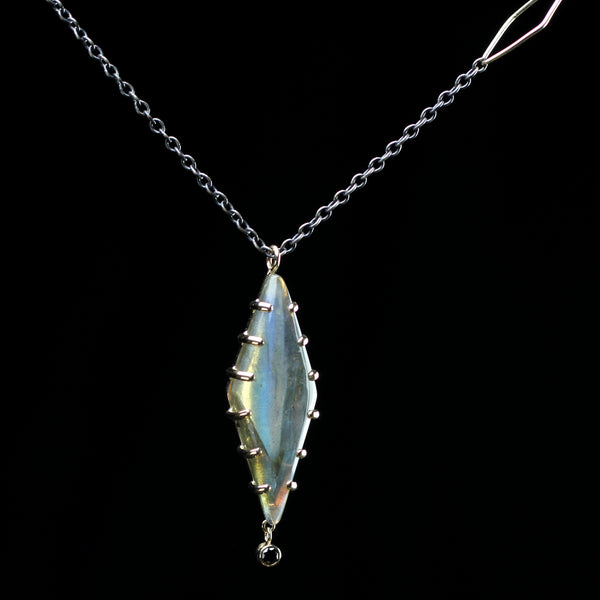 Labradorite necklace with black diamond accent hand made by designer Jamie Joseph in ther Seattle jewelry studio
