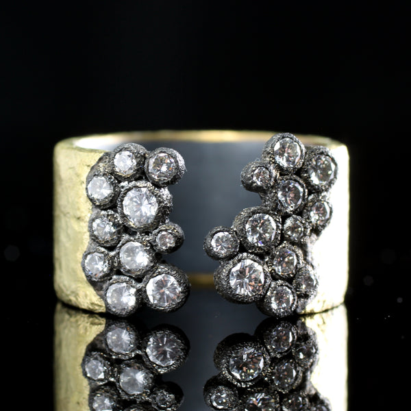 Wide hammered band with diamonds in the TAP colleciton by fine jewelry designer Todd Pownell