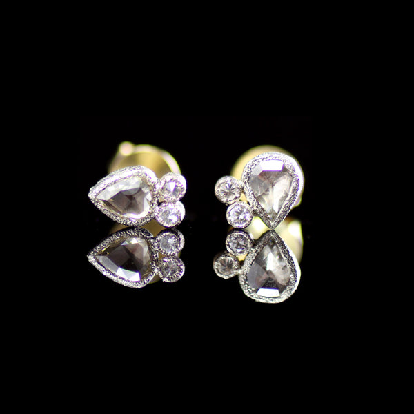 Rose-cut diamond post earrings for everyday crafted by fine jewelry designer Todd Pownell with TAP designs