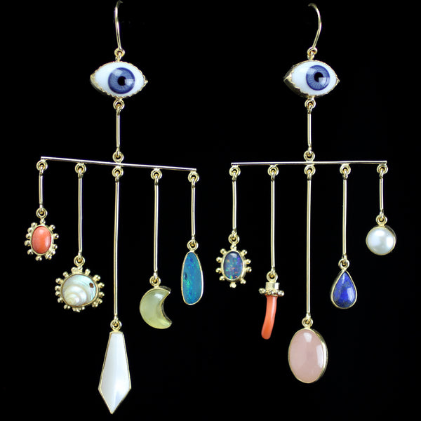 Vintage Glass Eyes with pearl, shell, opal and other precious stones hand made by Grainne Morton