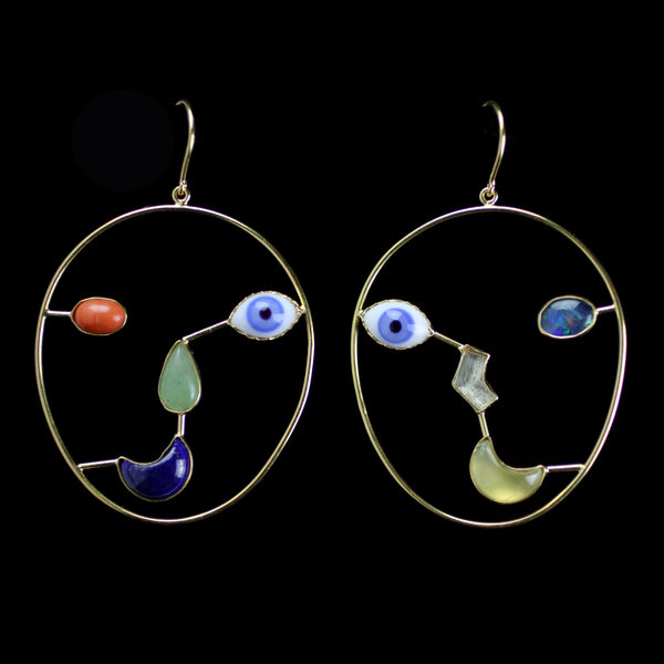 Vintage Glass Eyes with opal and other precious stones hand made by jewelry designer Grainne Morton