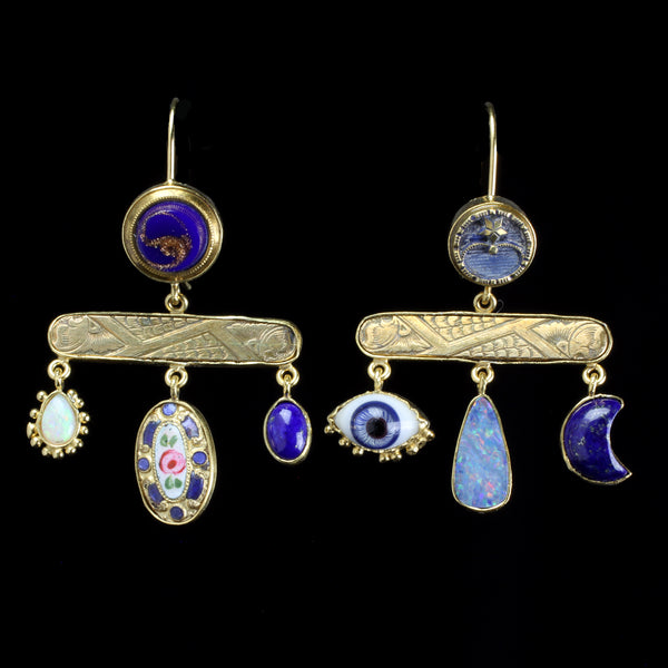 Antique button earrings with vintage glass eyes and other precious stones hand made by jewelry designer Grainne Morton
