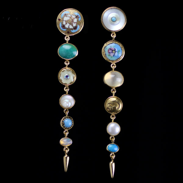 Antigue button earrings with pearl, shell, opal and other precious stones hand made by jewelry designer Grainne Morton