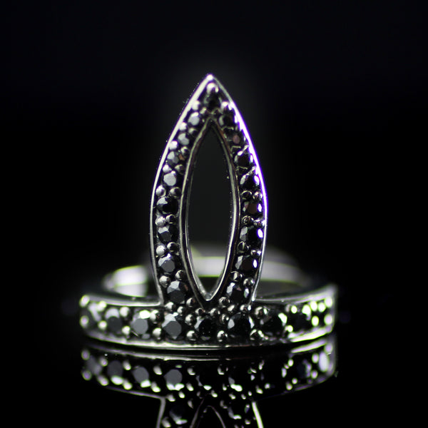 Black Spinel stone stacking ring created by fine jewelry desiger Matthew Campbell Lauranza for MCL