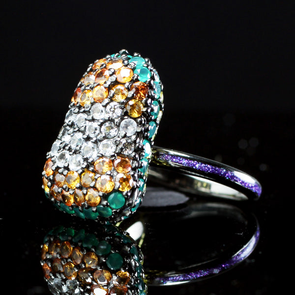 Colored sapphire ring created by fine jewelry desiger Matthew Campbell Lauranza for MCL