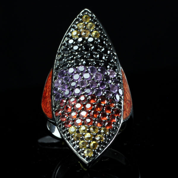 Red and Purple Sapphire Shield Ring