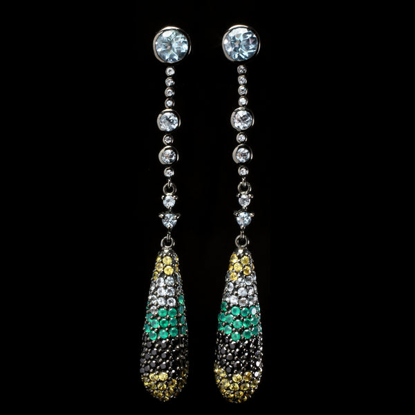 Aquamarine stone earrings created by fine jewelry desiger Matthew Campbell Lauranza for MCL from natural yellow, blue and green sapphires.