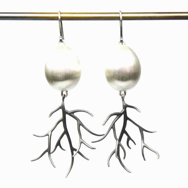 Hannah Blount fine jewelry hand made in boston sterling silver egg and branch earrings