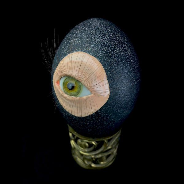 Vintage glass eye and salvaged denture art with reclaimed and recycled materials