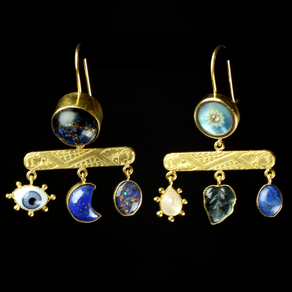 Fine jewelry designer Grainne Morton makes one of a kind pieces with vintage and antique buttons and charms