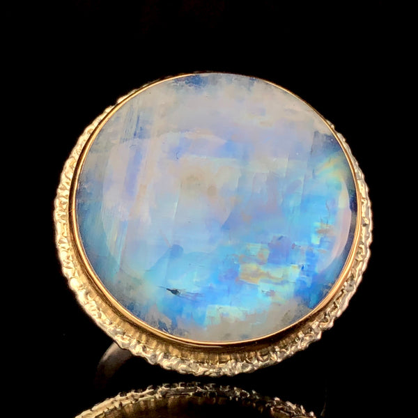 Rainbow moonstone ring by fine jewelry designer Jamie Joseph