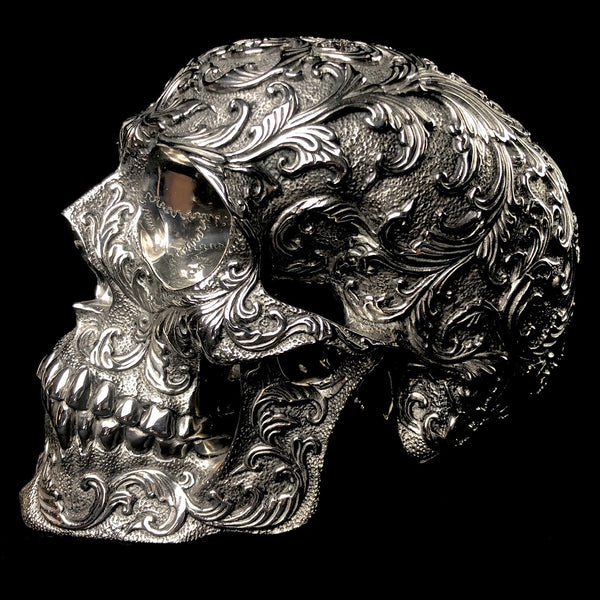Large Floral Stainless Steel Skull