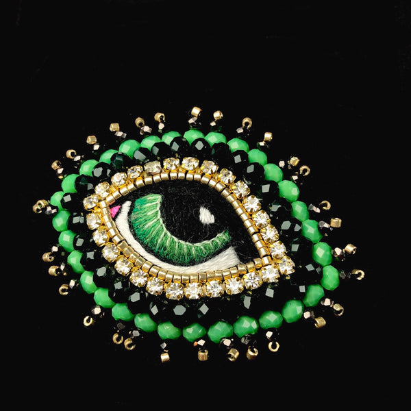 Small Green Eye Brooch