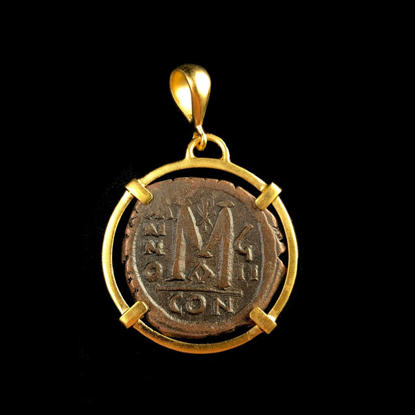 Gold Byzantine Coin Pendant Q